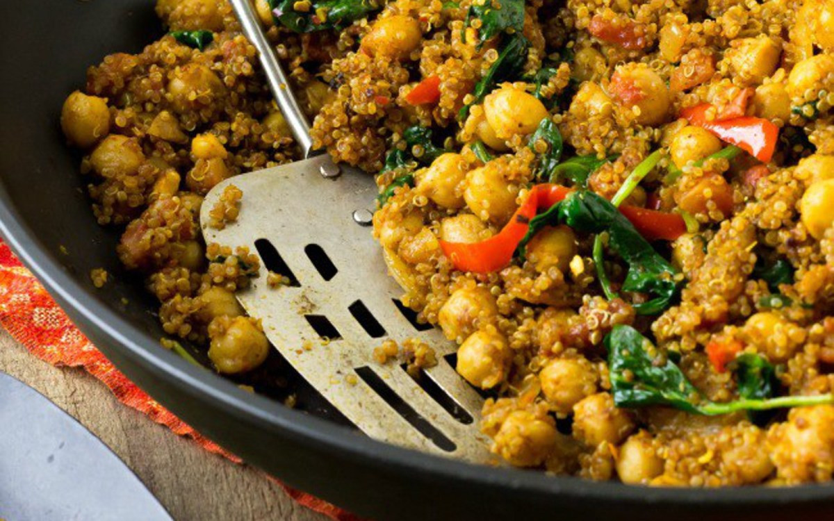 Quinoa Indian Recipes  Indian Quinoa and Chickpea Stir Fry [Vegan] e Green Planet