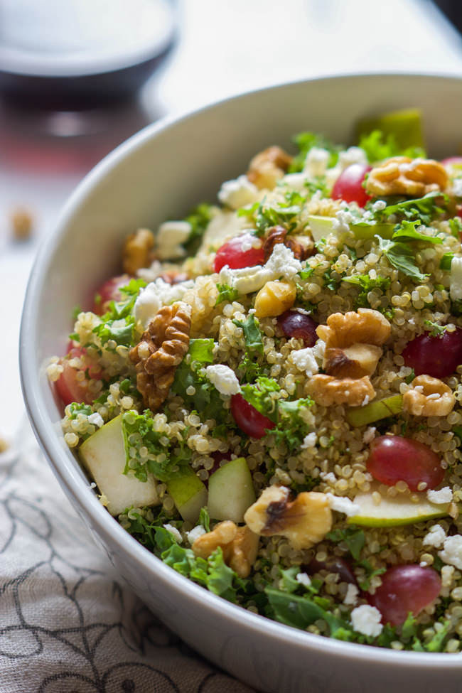 Quinoa Salad Dressing  Walnut Grape & Kale Quinoa Salad with White Balsamic Dressing