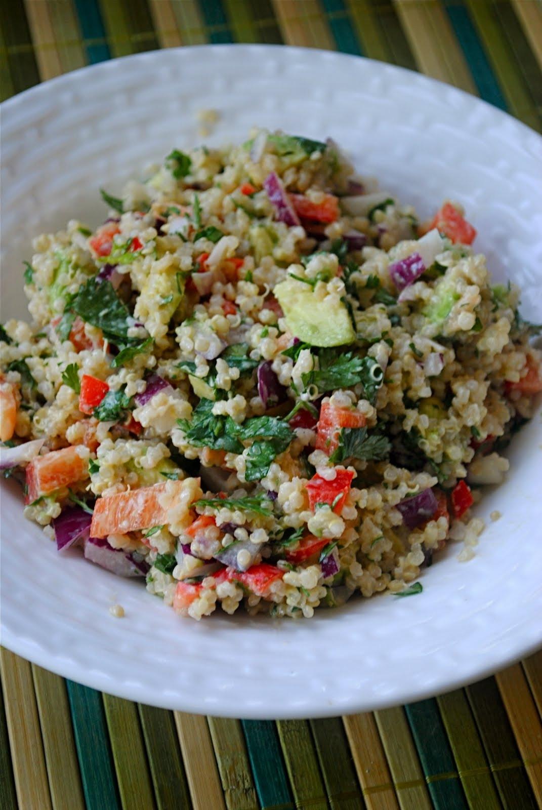 Quinoa Salad Dressing  Quinoa and Avocado Salad with Lemon Tahini Dressing