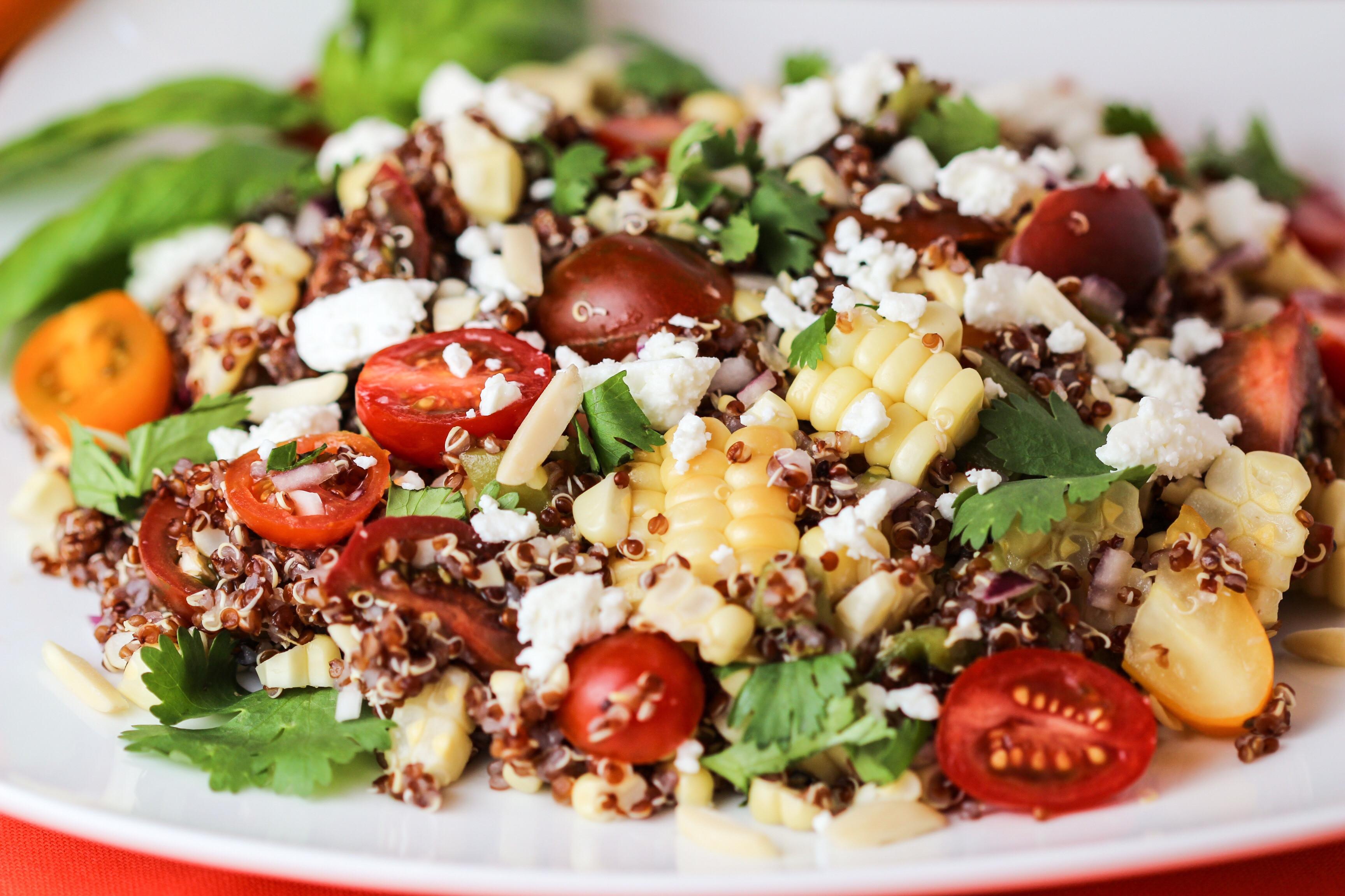Quinoa Salad Feta  Roasted Red Pepper And Feta Quinoa Salad Recipe — Dishmaps