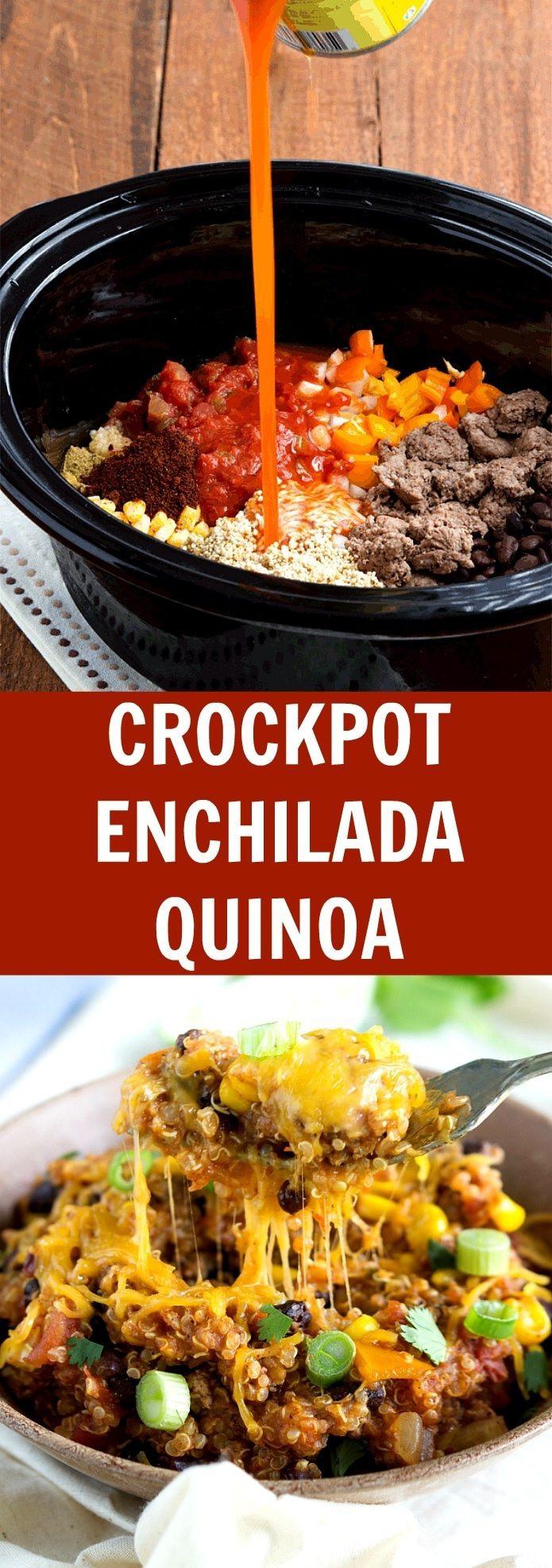 Quinoa Slow Cooker  Slow Cooker Cheesy Enchilada Quinoa Bake Chelsea s Messy