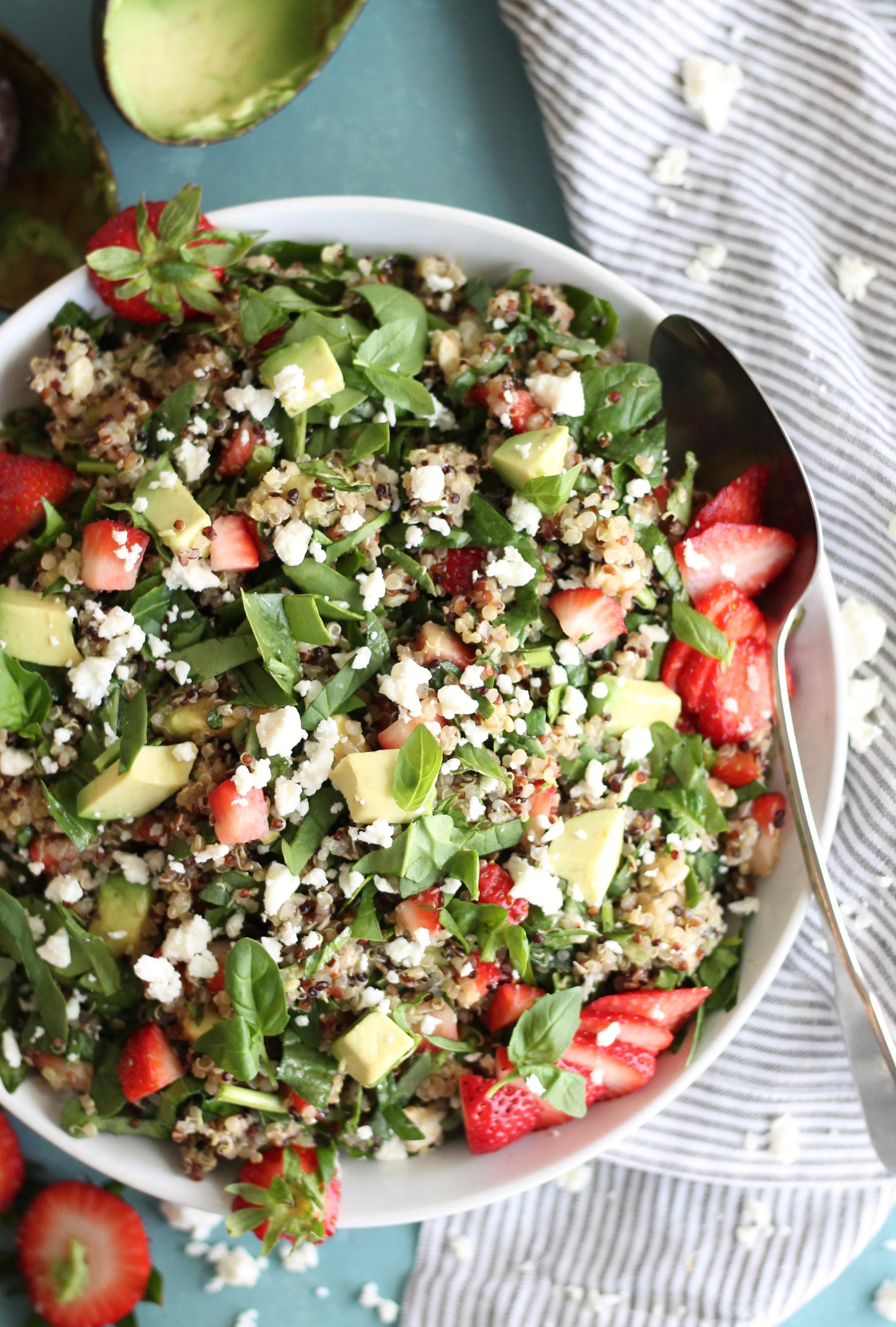 Quinoa Spinach Salad  Strawberry Avocado Feta Spinach Quinoa Salad with Basil