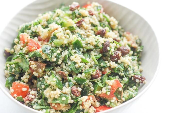 Quinoa Spinach Salad  Quinoa Spinach Power Salad with Lemon Vinaigrette