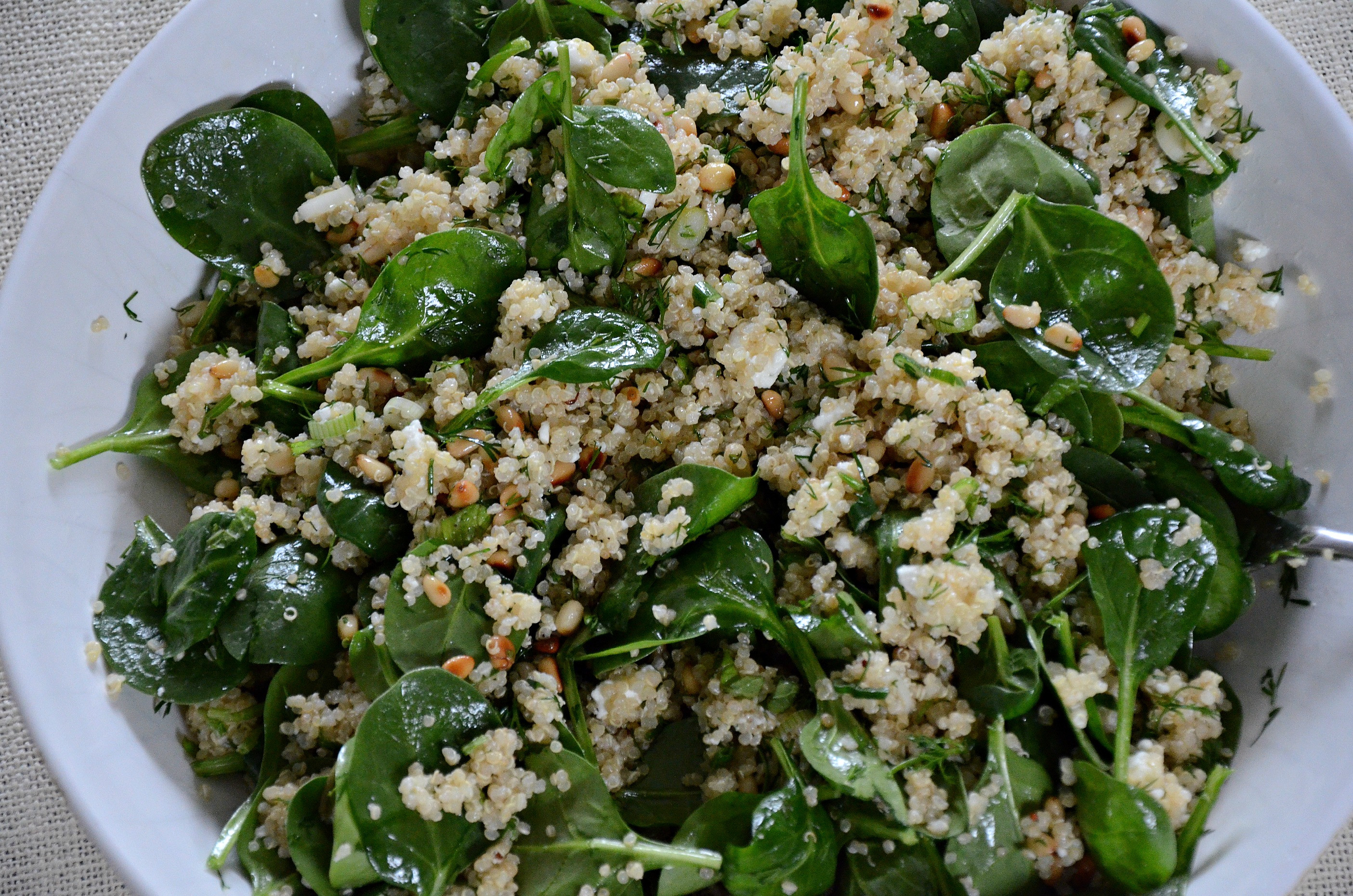 Quinoa Spinach Salad  spinach and quinoa salad with feta and dill aka