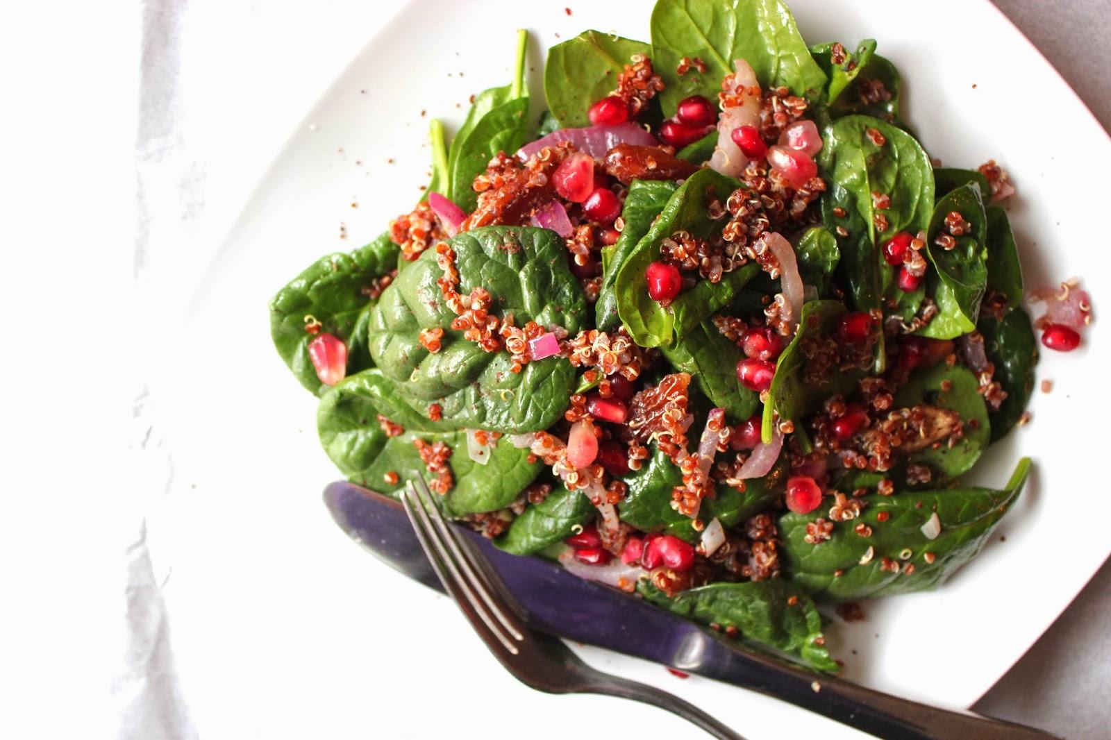 Quinoa Spinach Salad  Swirl & Scramble Baby Spinach Quinoa Salad with Dates & Sumac