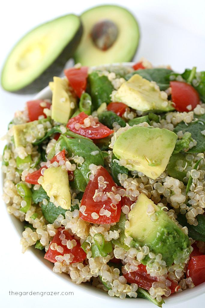 Quinoa Spinach Salad  The Garden Grazer Quinoa Avocado Spinach Power Salad