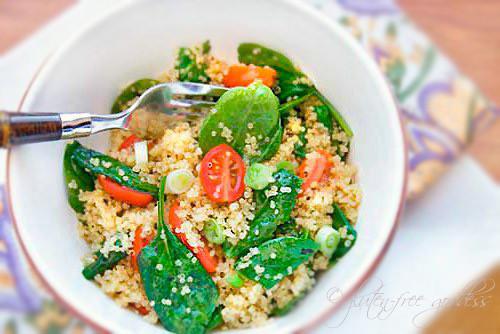 Quinoa Spinach Salad  Gluten Free Goddess Recipes Quinoa Salad with Baby