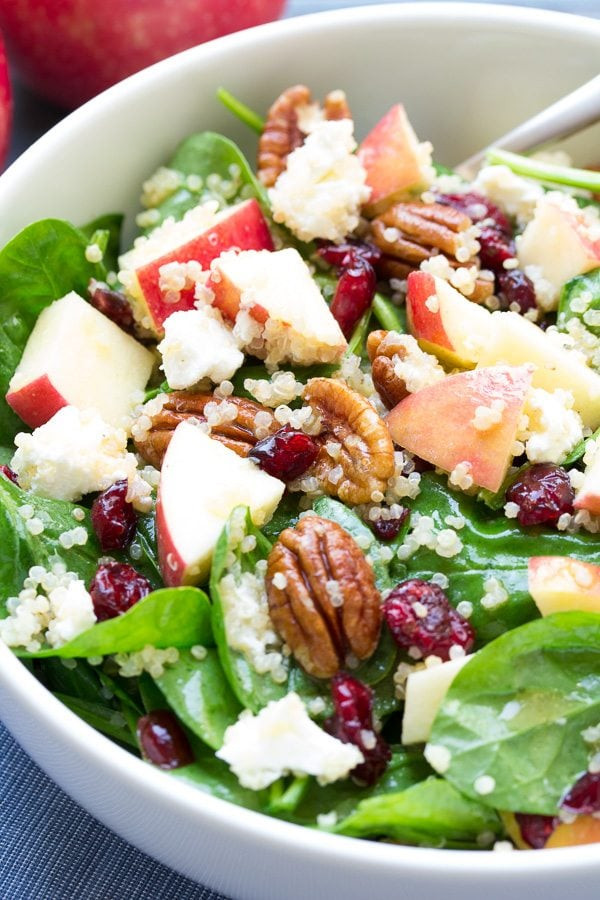 Quinoa Spinach Salad  Spinach and Quinoa Salad with Apple Recipe Girl