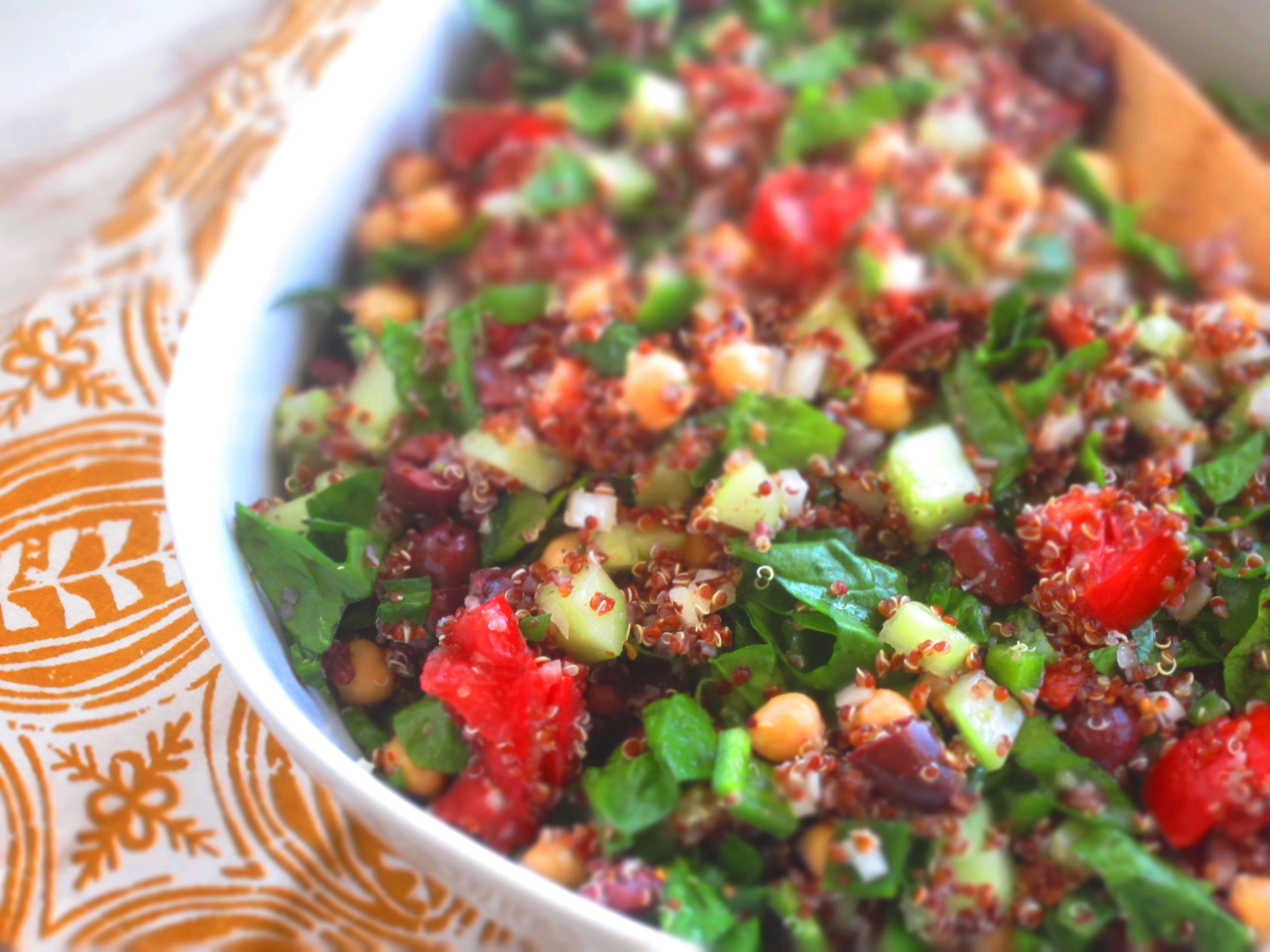Quinoa Spinach Salad  Greek Spinach Quinoa Salad
