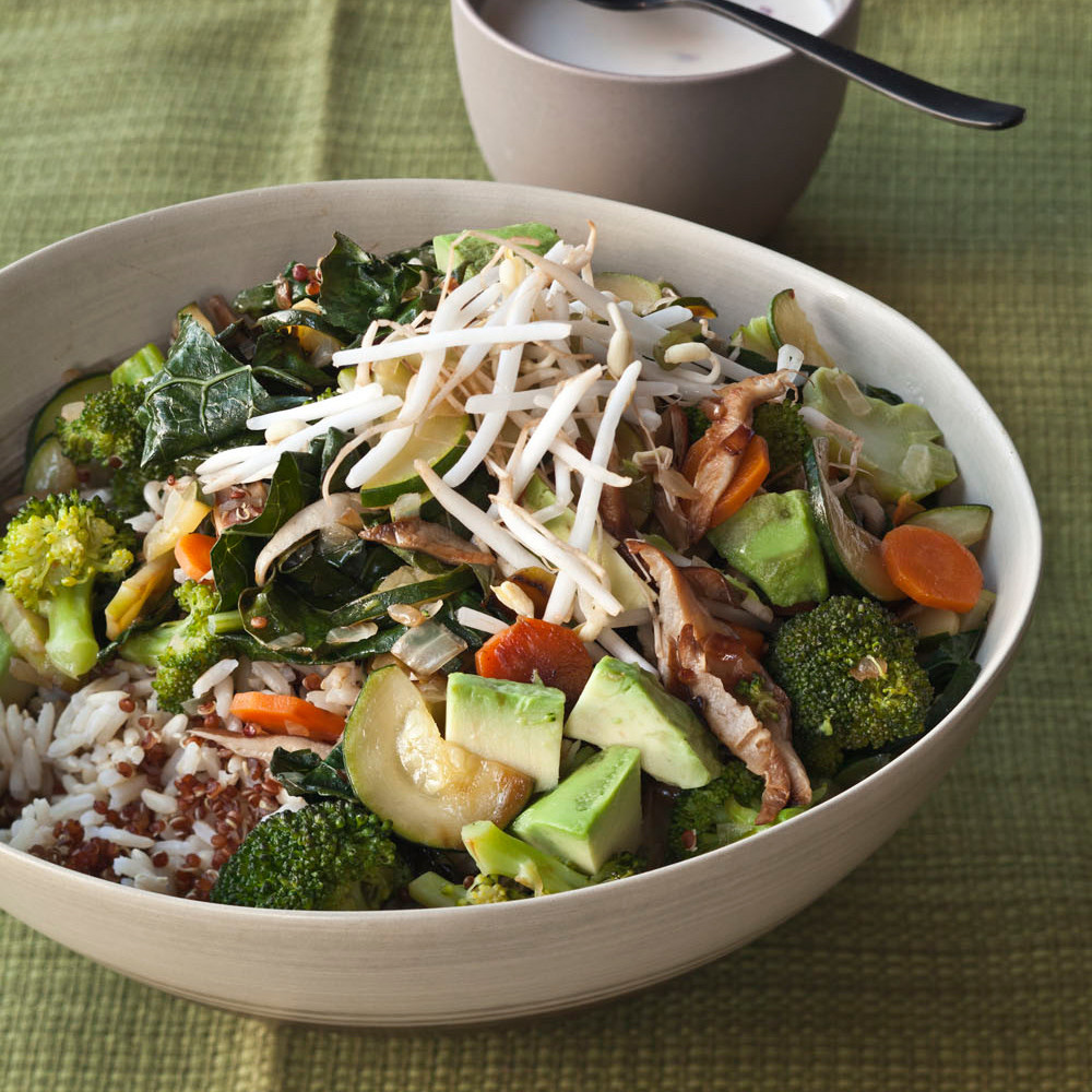 Quinoa With Vegetables  Quinoa and Brown Rice Bowl with Ve ables and Tahini