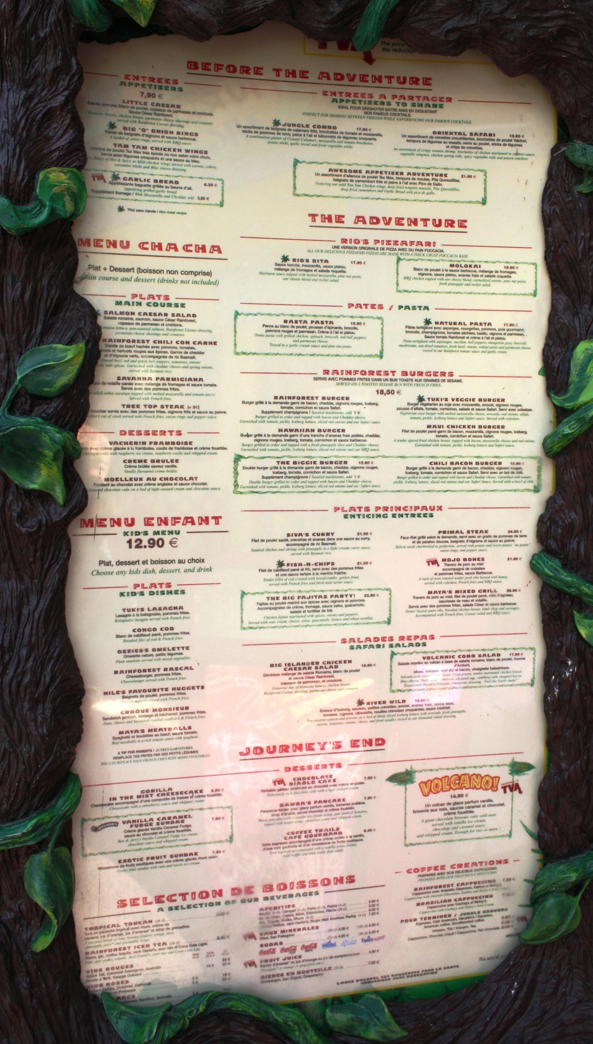 Rainforest Cafe Desserts Menu  301 Moved Permanently