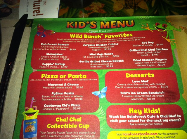 Rainforest Cafe Desserts Menu  ing to you Live from Disney World SEE NEW THREAD