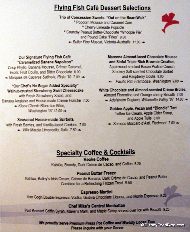 Rainforest Cafe Desserts Menu  Review Disney World's Flying Fish Cafe