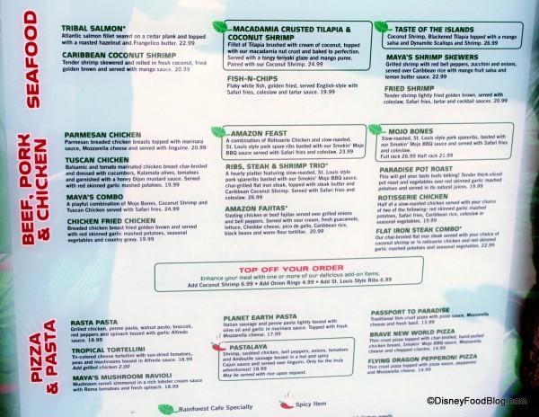 Rainforest Cafe Desserts Menu  Review Rainforest Cafe a la Disney