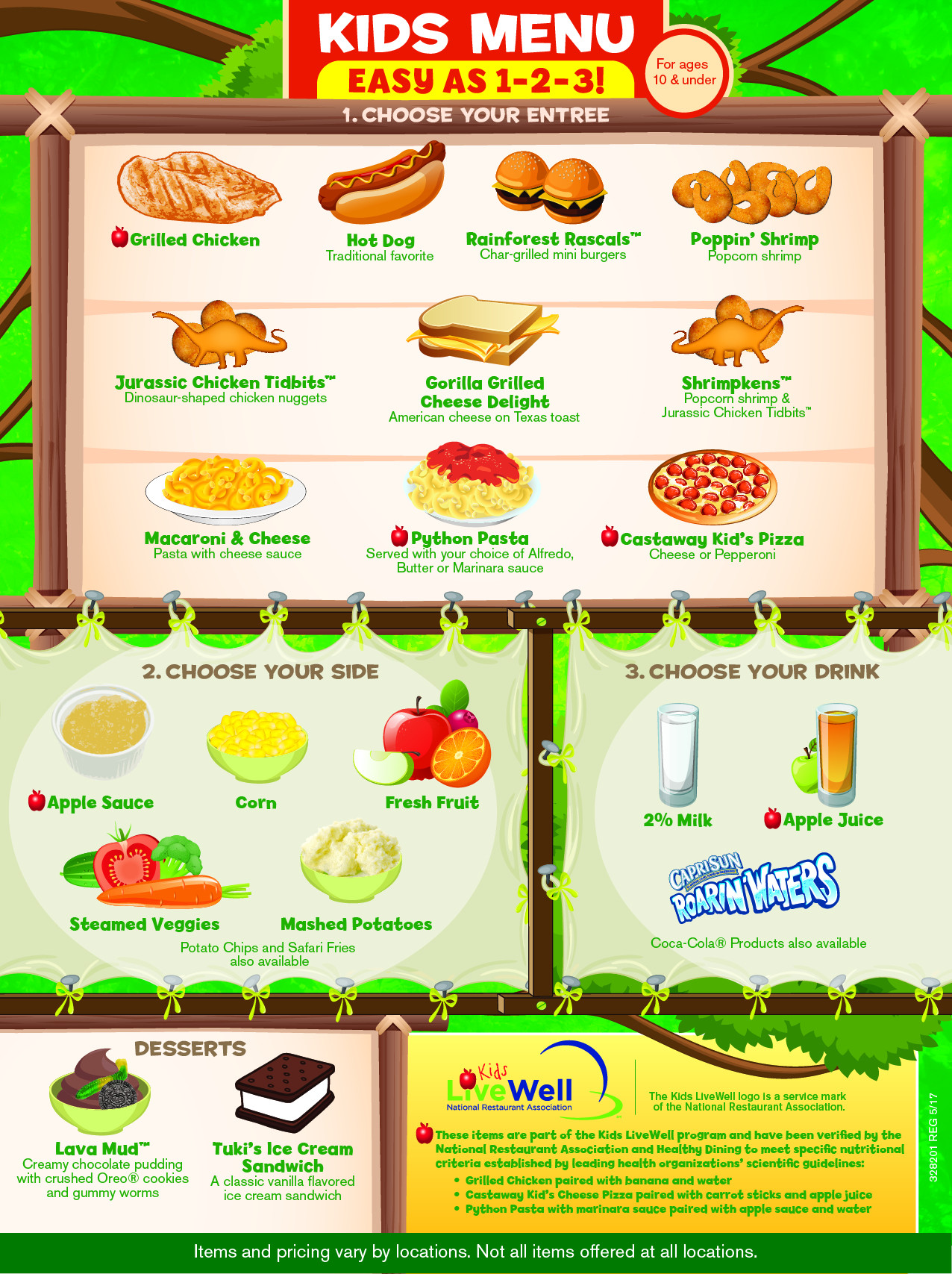 Rainforest Cafe Desserts Menu  Kids Menu Rainforest Cafe A Wild Place to Shop and Eat