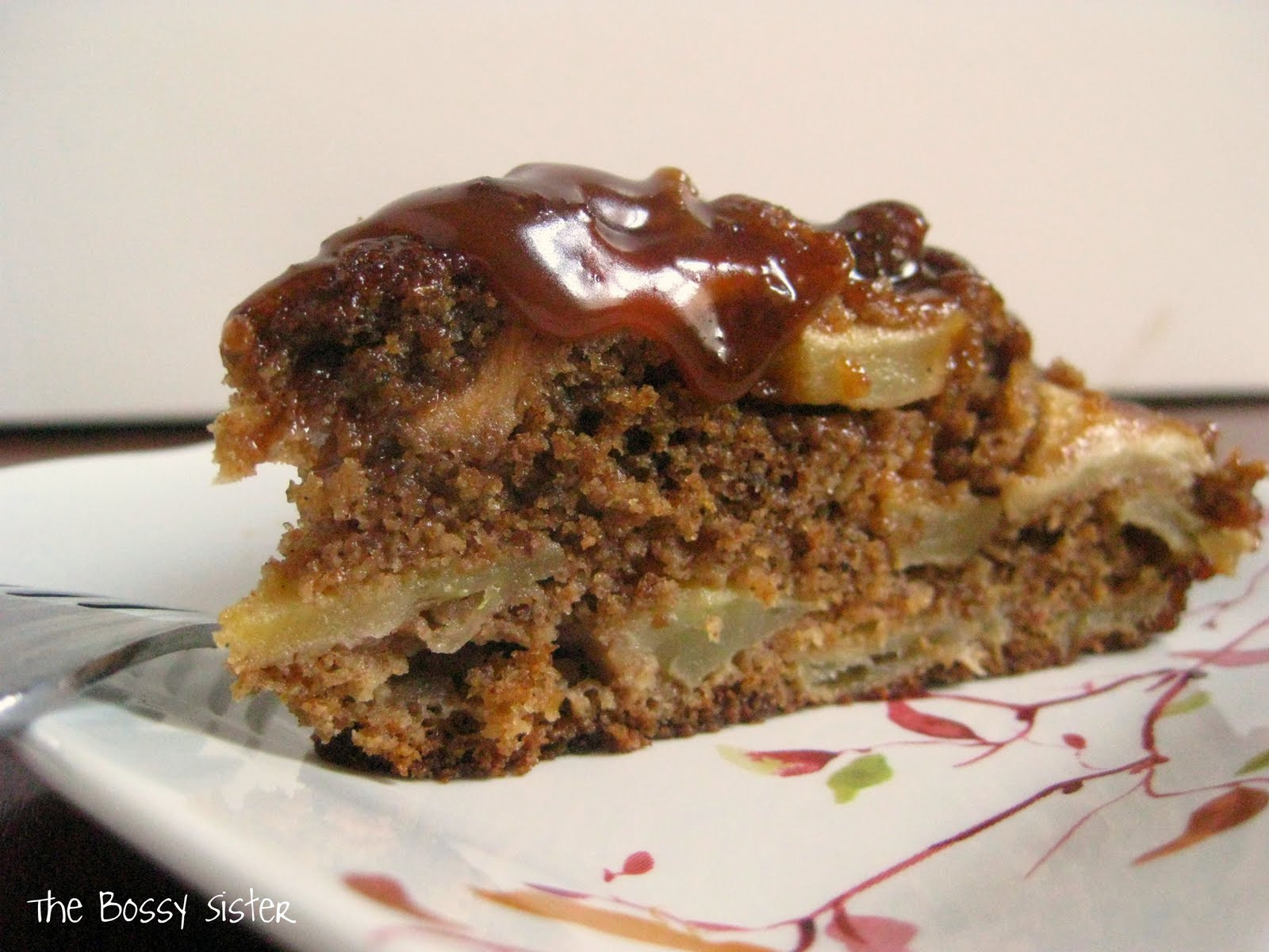 Raw Apple Cake  The Bossy Sister Raw Apple Cake with Salted Caramel Sauce