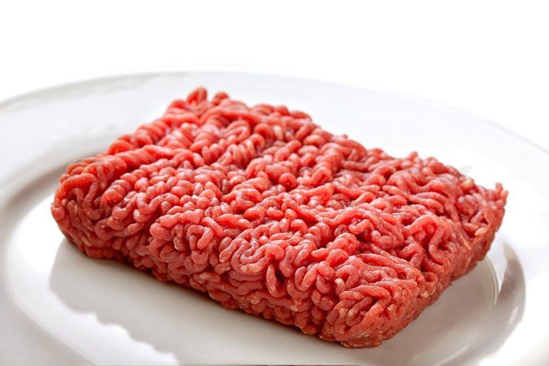 Raw Ground Beef  Close up raw ground beef Stock