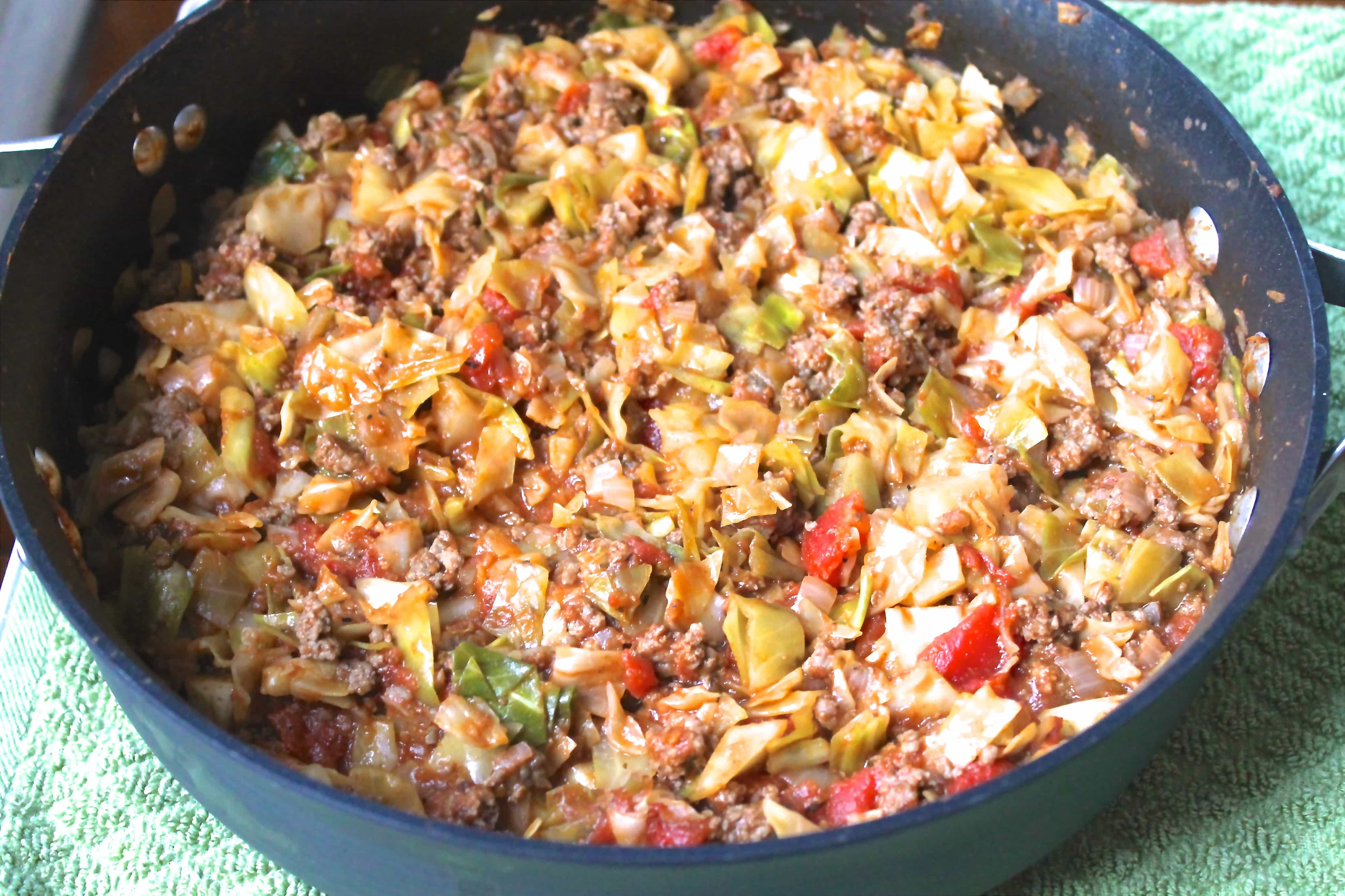 Recipe For Ground Beef  Amish e Pan Ground Beef and Cabbage Skillet Smile Sandwich