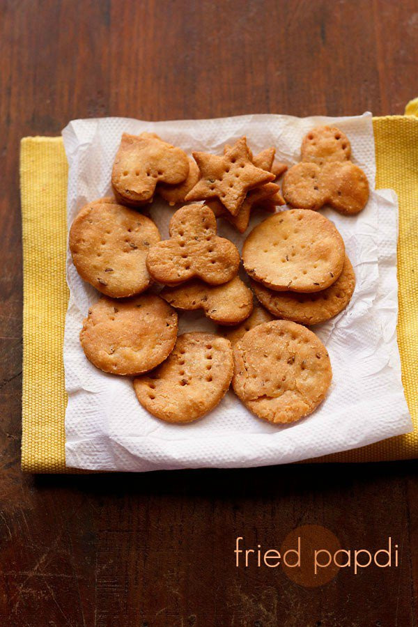 Recipe For Snacks papdi recipe how to make fried papdi and baked papdi