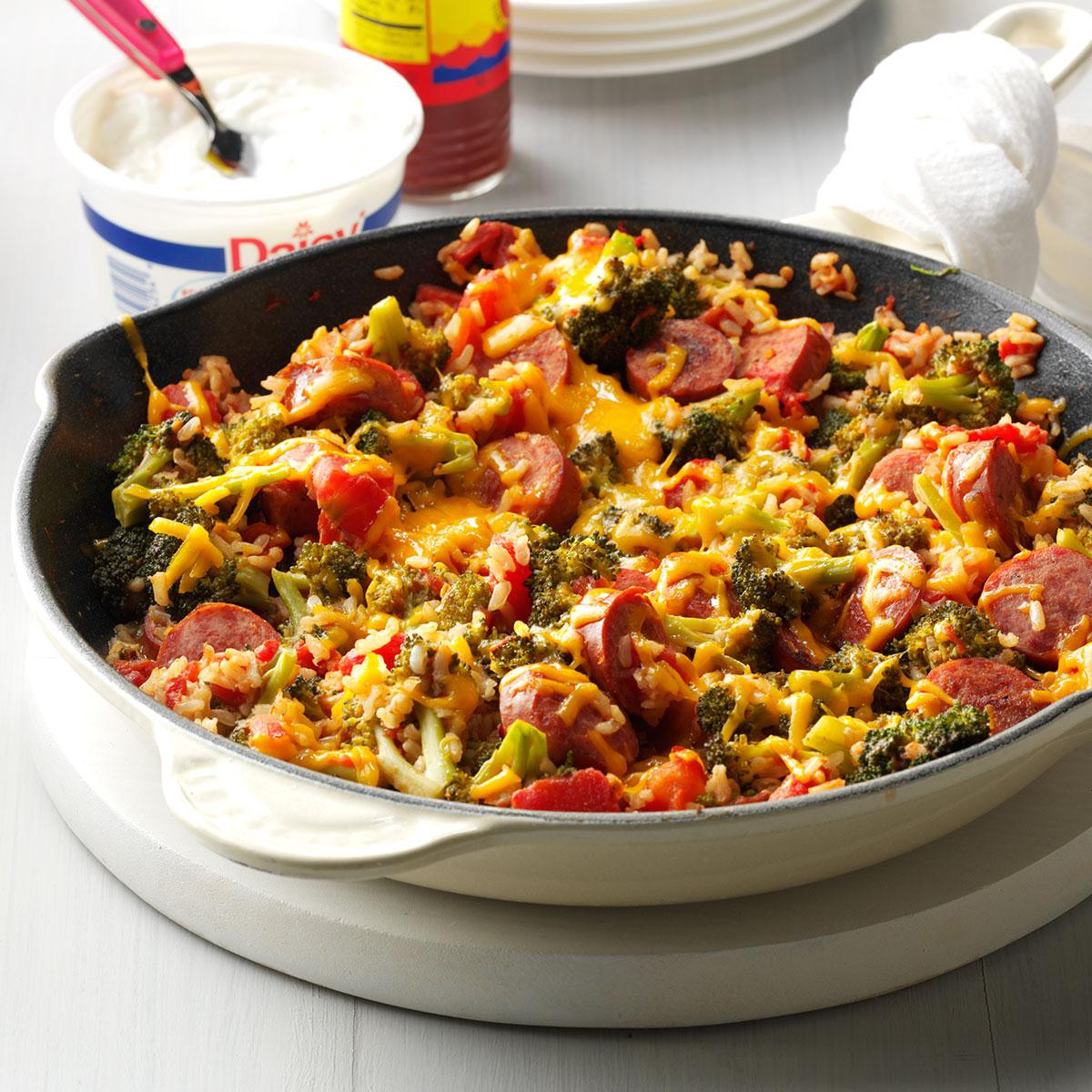 Recipes For Dinner  Broccoli Rice and Sausage Dinner Recipe