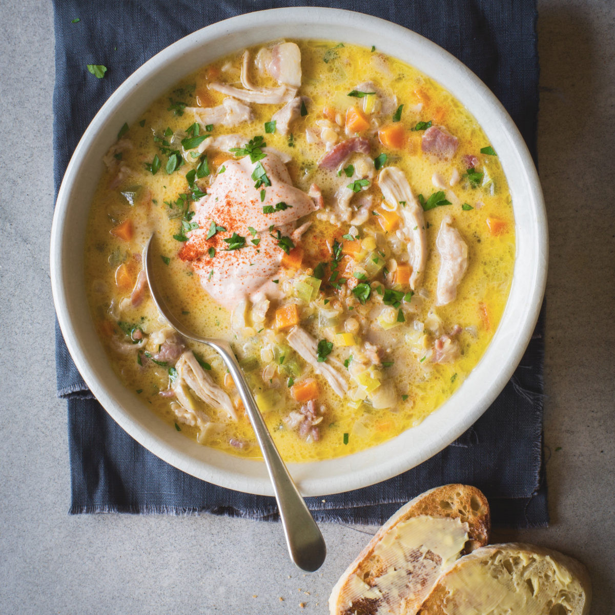 Recipes Using Cream Of Chicken Soup  Creamy chicken bacon and lentil soup with ciabatta