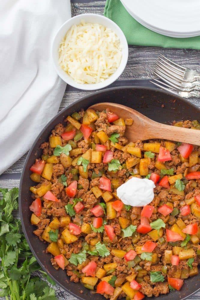 Recipes Using Ground Turkey  Healthy taco turkey and potato skillet Family Food on