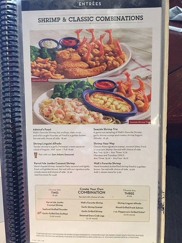 Red Lobster Dinner Menu  Red Lobster Menu Prices 2017