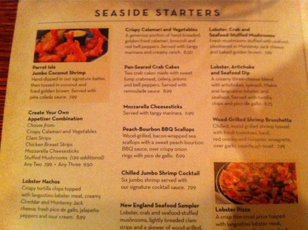 Red Lobster Dinner Menu  Lobster Tail Dinner Menu Ideas
