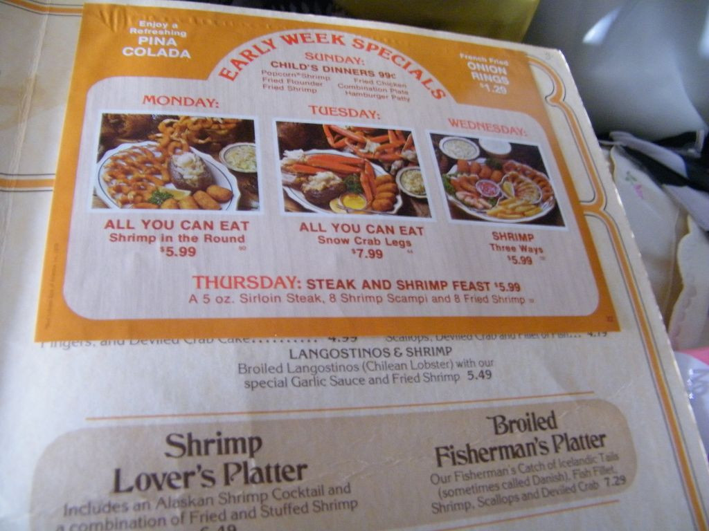 Red Lobster Dinner Menu  Vintage RED LOBSTER Menu Dinner Menu 1978 from
