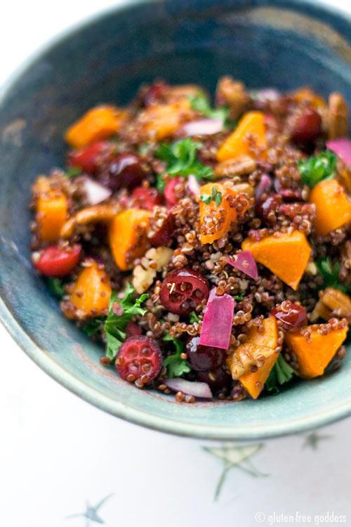 Red Quinoa Salad  Red Quinoa with Butternut Squash Cranberries and Pecans