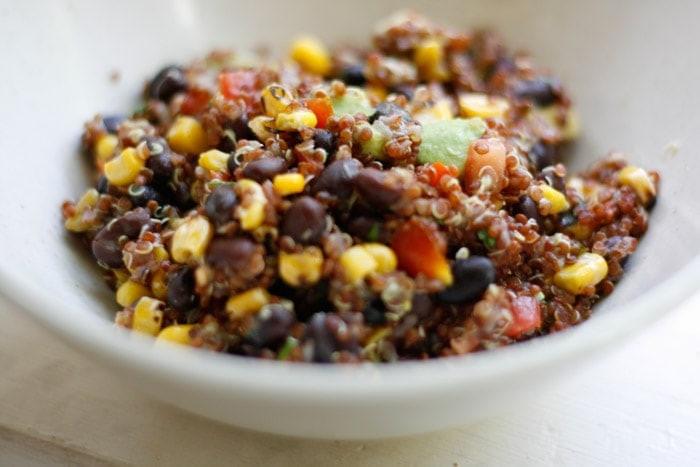 Red Quinoa Salad  Red Quinoa Salad with Corn Avocado and Black Beans Recipe