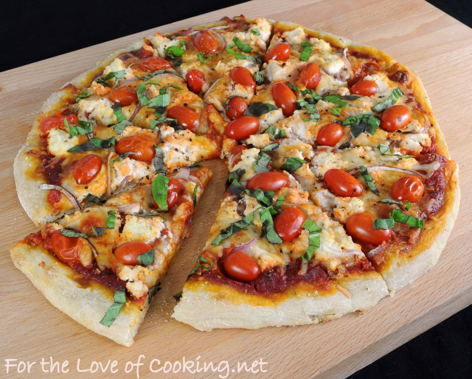 Red Tomato Pizza  Pizza with Ricotta Grape Tomatoes Red ion and Fresh
