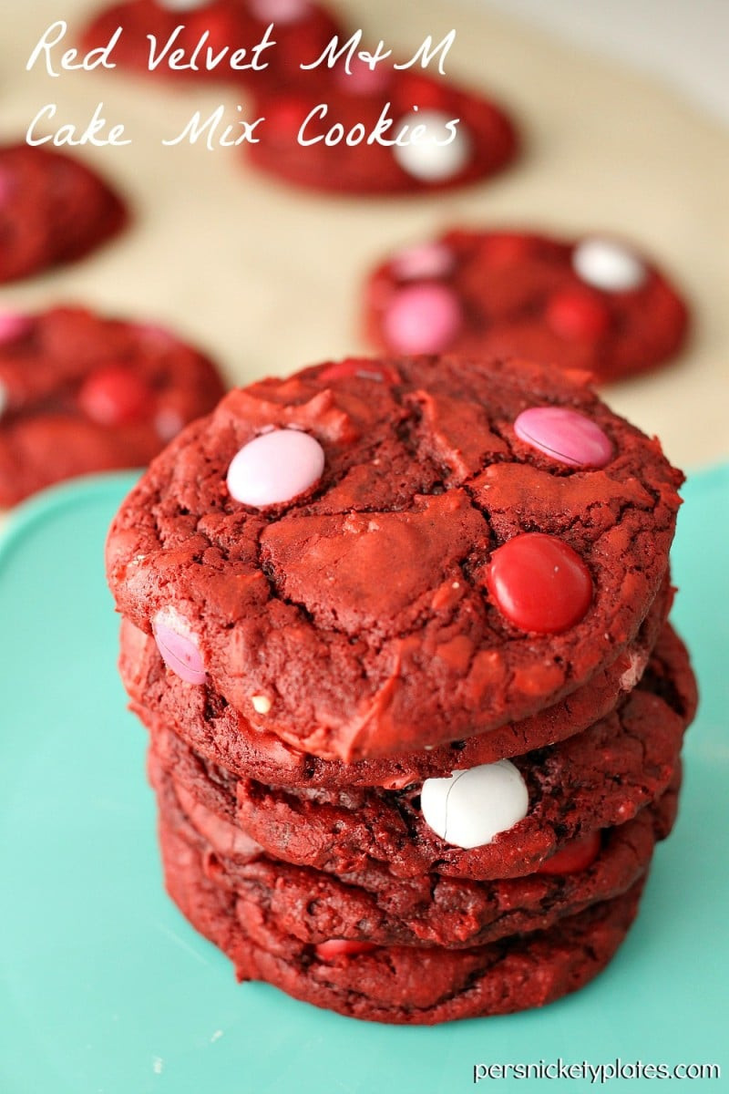 Red Velvet Cake Mix  Red Velvet M&M Cake Mix Cookies Persnickety Plates