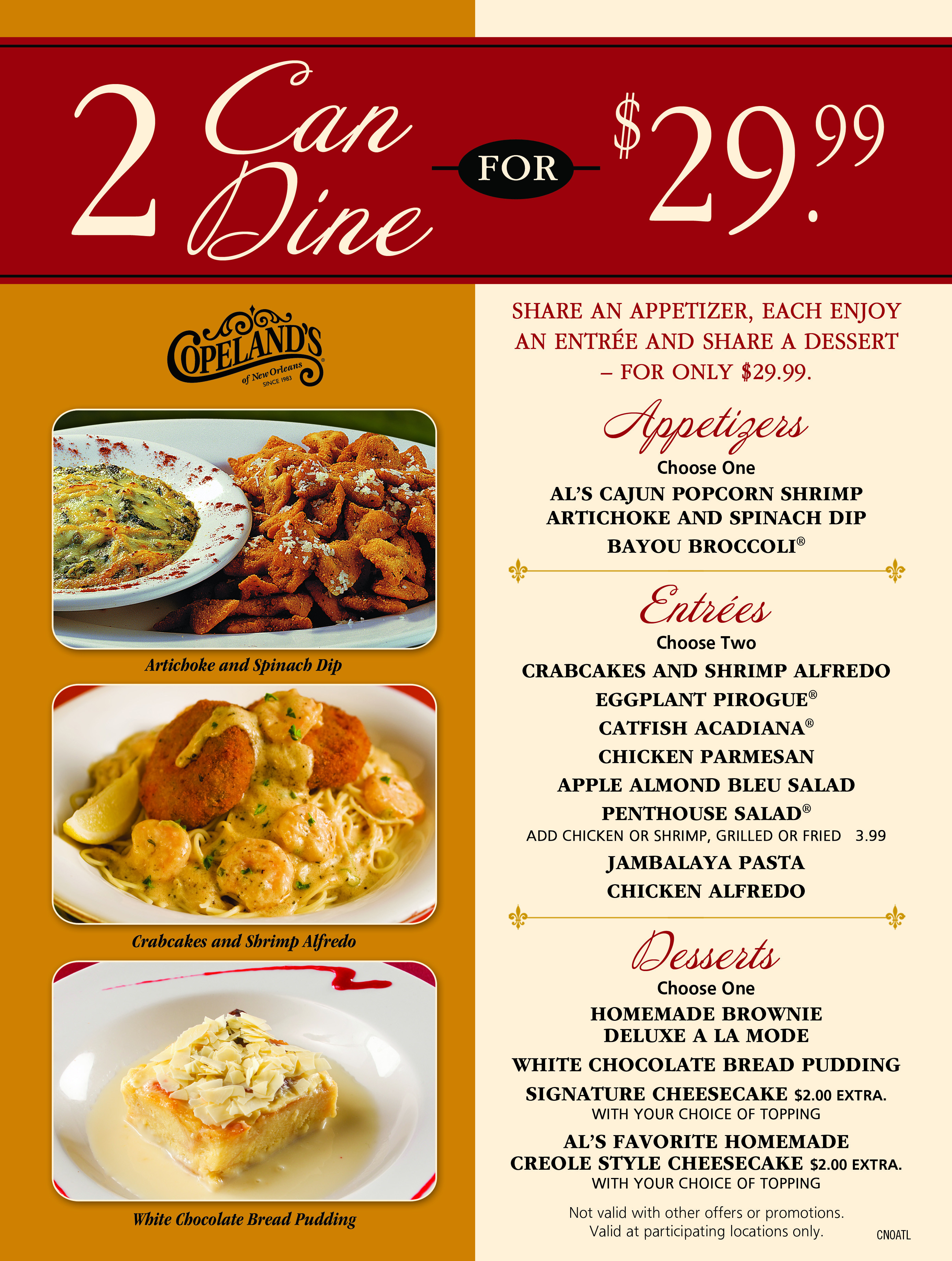 Restaurants With Dinner For 2 Specials  Cumberland Lunch Specials