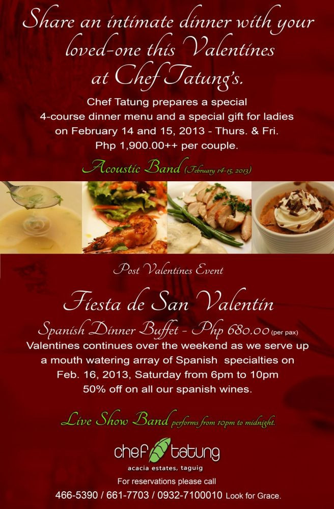 Restaurants With Dinner For 2 Specials  Where to Celebrate Valentine s Day in Metro Manila