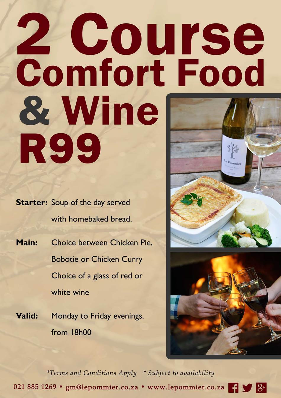 Restaurants With Dinner For 2 Specials  R99 Dinner & Wine Special at Le Pommier