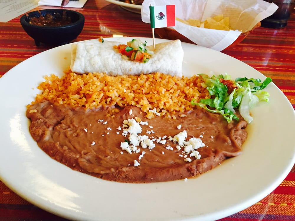 Rice And Beans Restaurant  Burrito Plate ground beef rice and beans with a side of