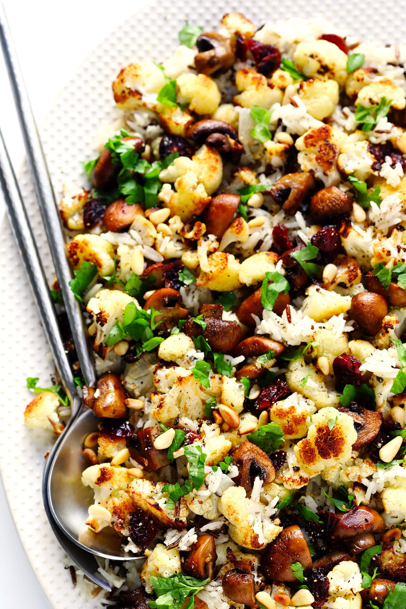 "Rice Cauliflower Recipe  Roasted Cauliflower Mushroom and Wild Rice ""Stuffing"
