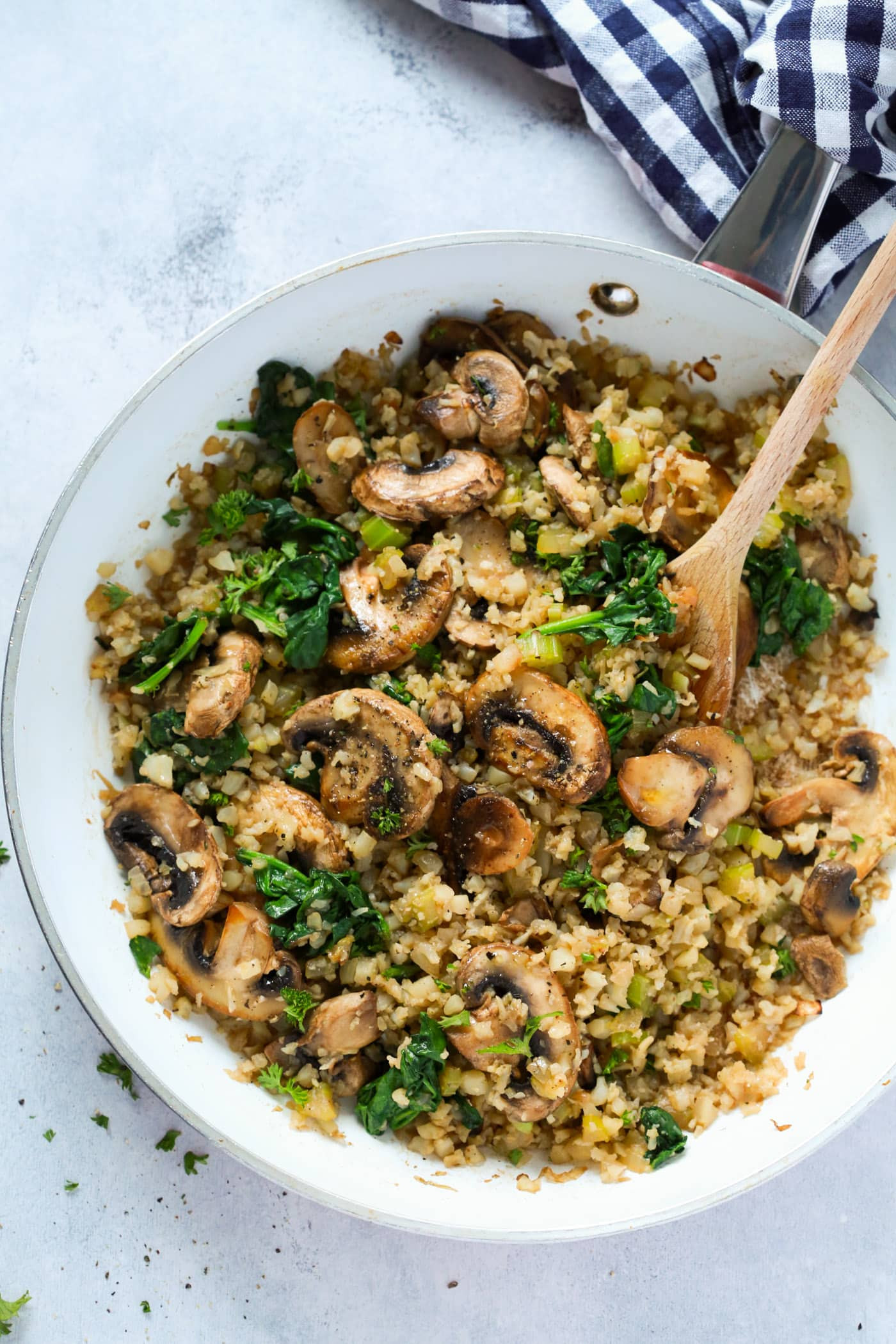 "Rice Cauliflower Recipes  Mushroom Cauliflower ""Rice"" Skillet Recipe Primavera Kitchen"