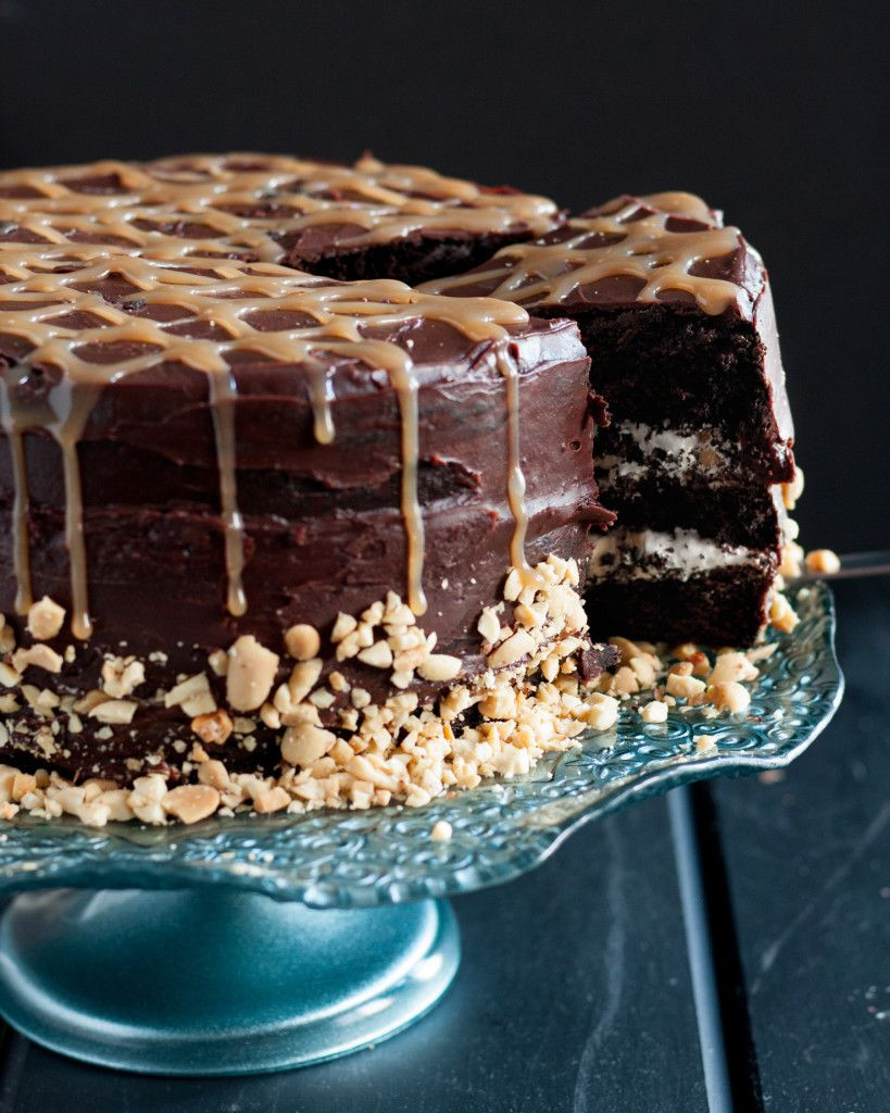 Rich Chocolate Cake  Snickers Cake Goo Godmother A Recipe and Lifestyle Blog