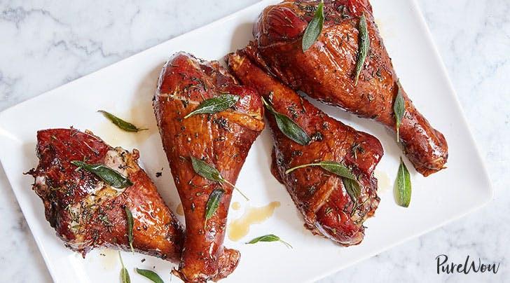 Roast Turkey Legs  Maple Herb Roasted Turkey Legs Recipe PureWow