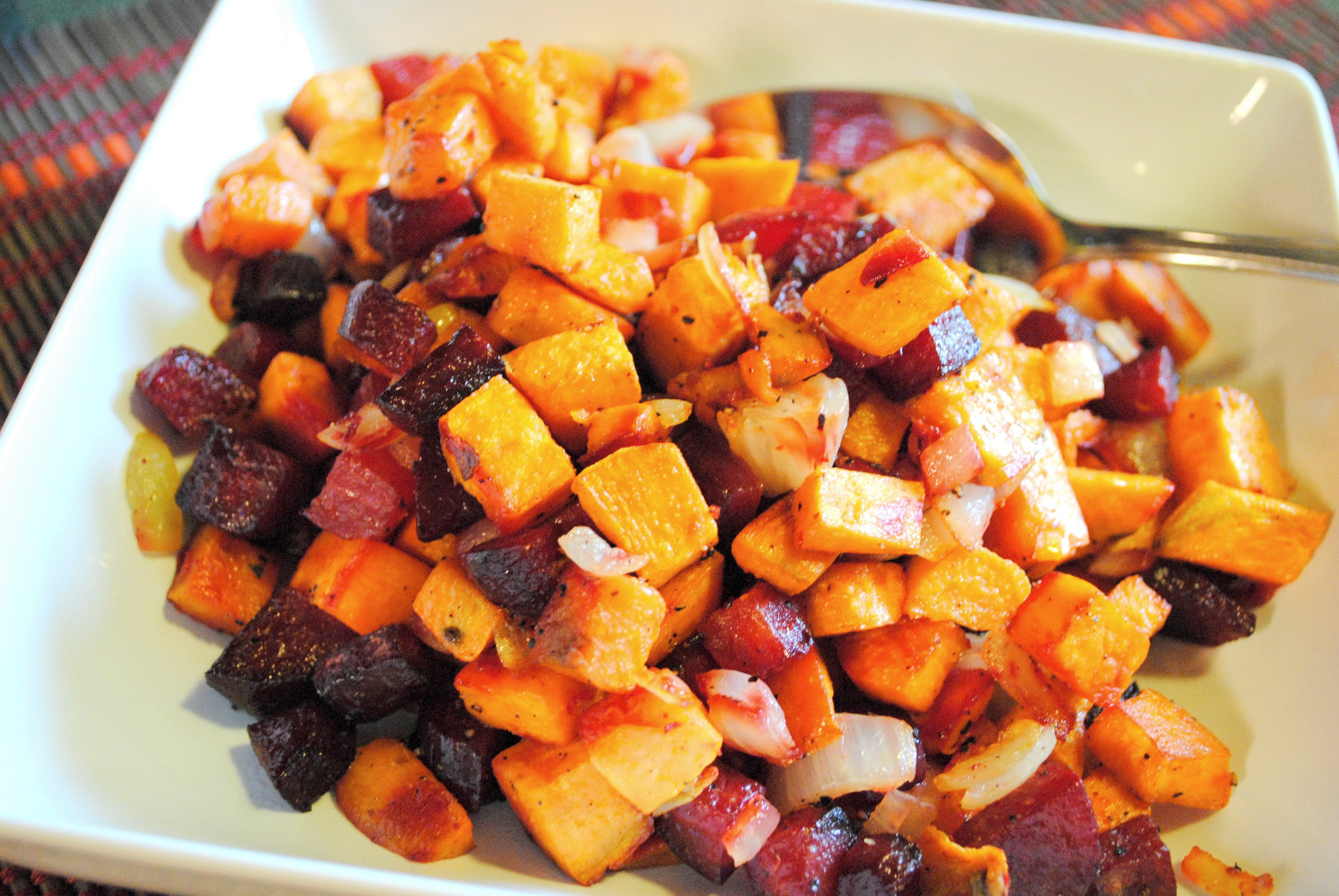 Roasted Beets And Sweet Potatoes  Easy roasted beet and sweet potato hash