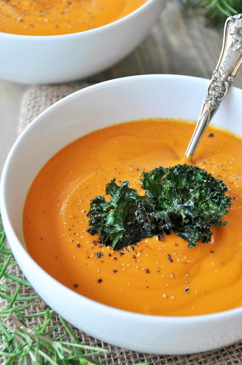 Roasted Carrot Soup  Creamy Roasted Carrot Garlic and Rosemary Soup Vegan