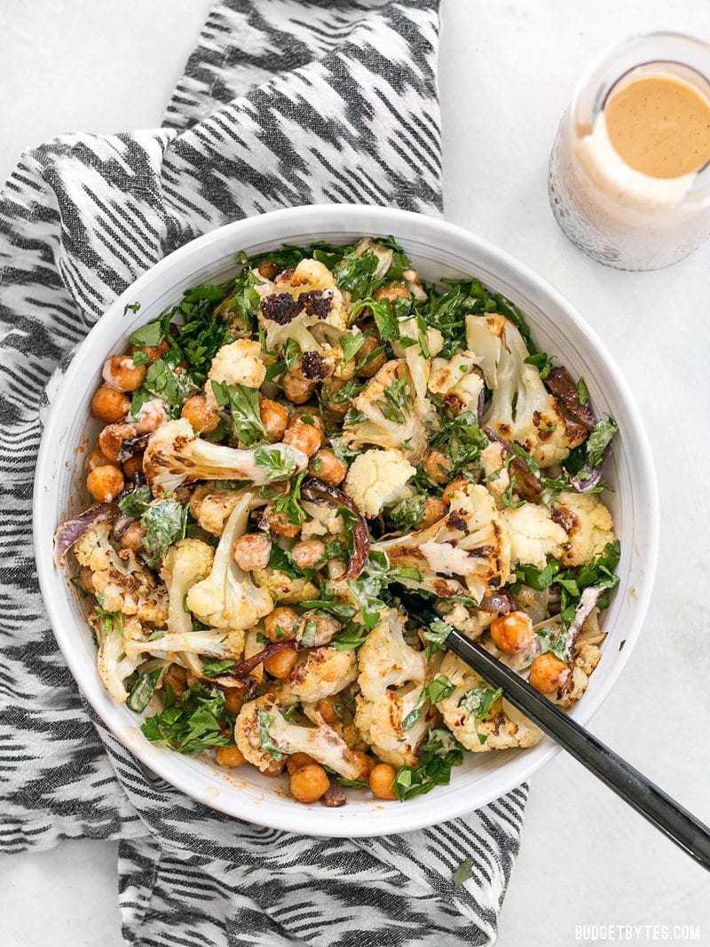 Roasted Cauliflower Salad  middle eastern cauliflower tahini