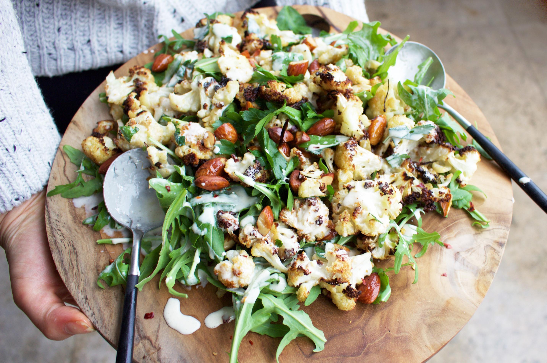 Roasted Cauliflower Salad  Roasted Cauliflower and Almond Salad Recipe