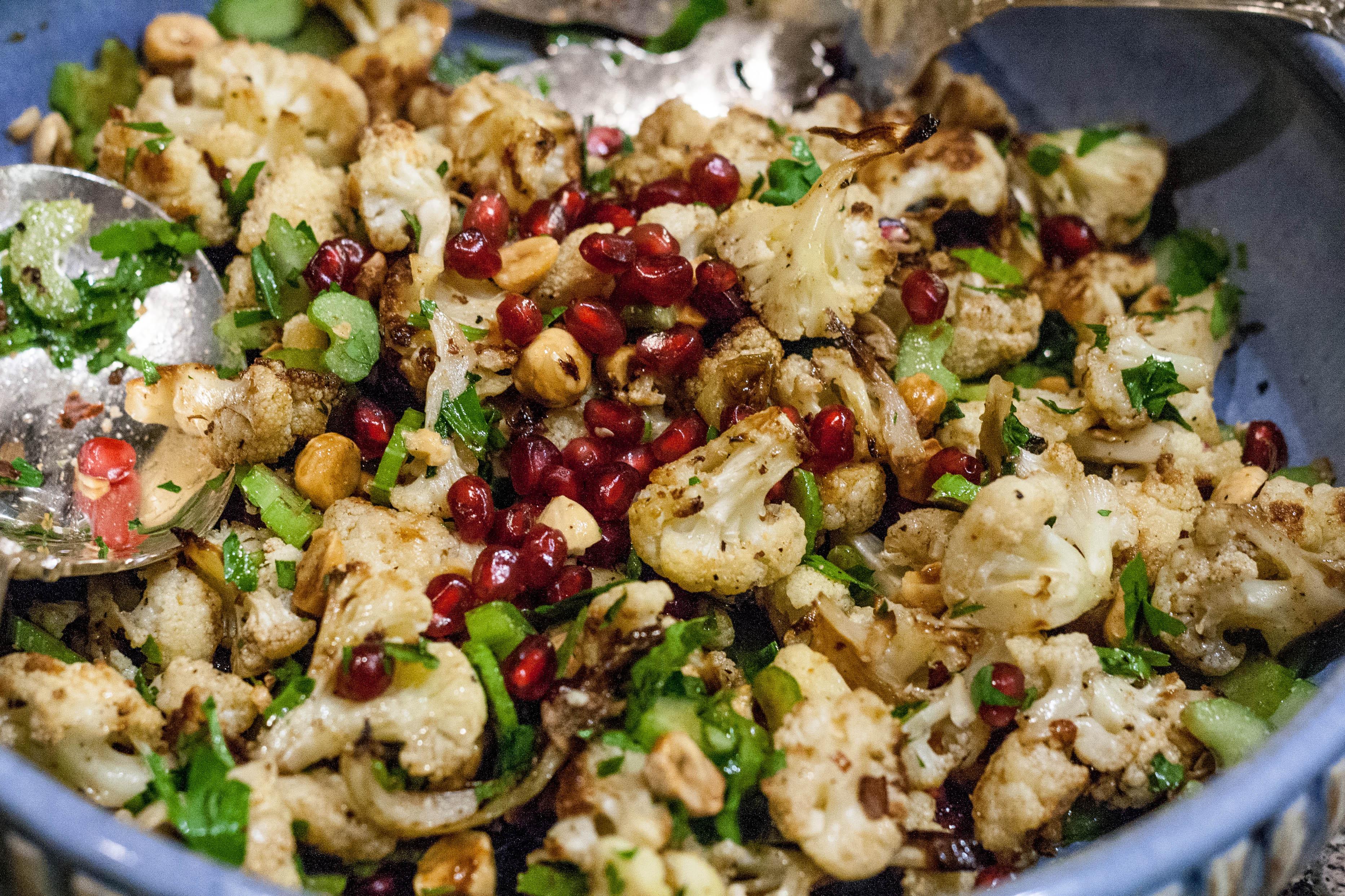 Roasted Cauliflower Salad  Roasted Cauliflower Hazelnut Celery Salad via Jerusalem
