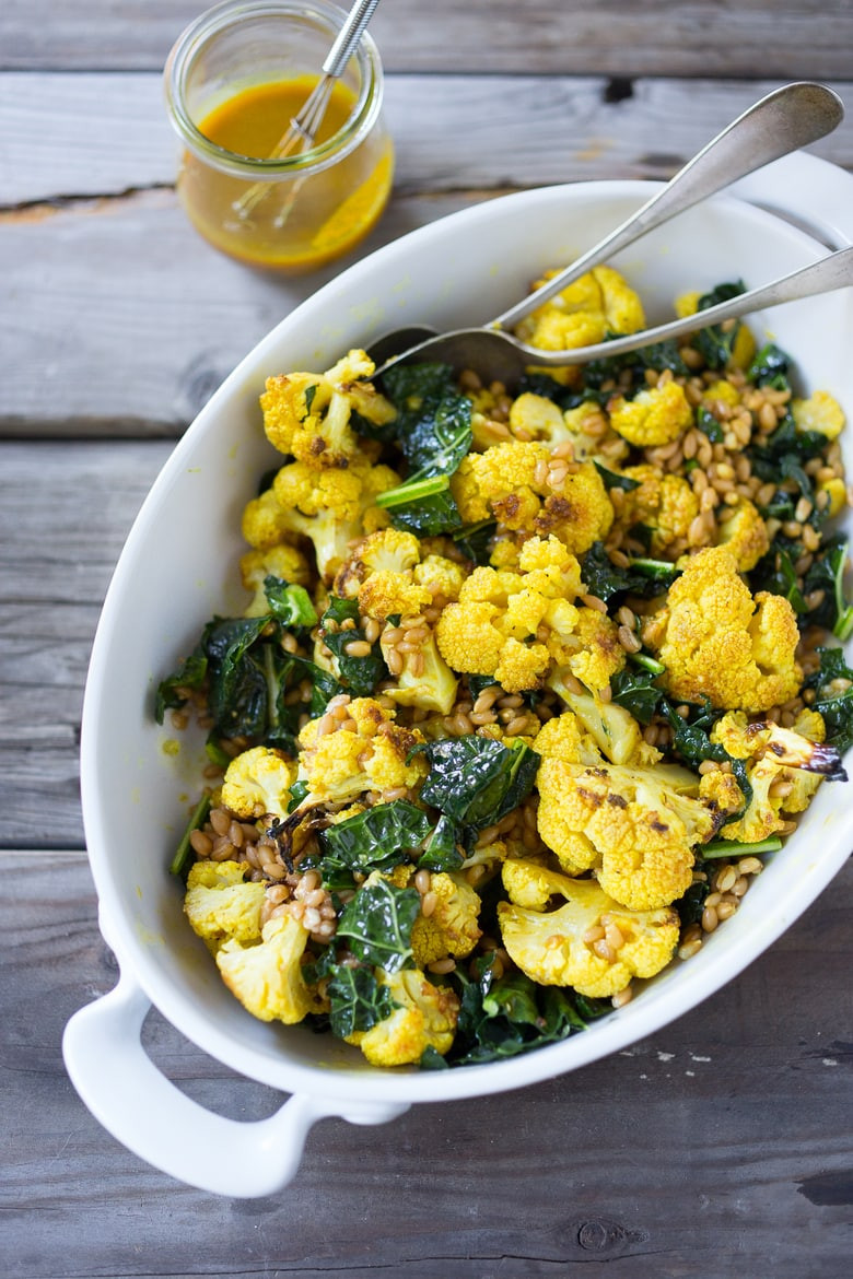 Roasted Cauliflower Salad  Roasted Cauliflower Salad with Turmeric Dressing
