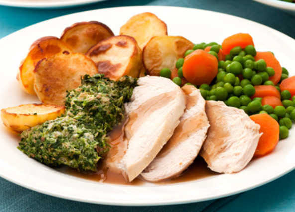 Roasted Chicken Dinner  Recipe Roast chicken with stuffing