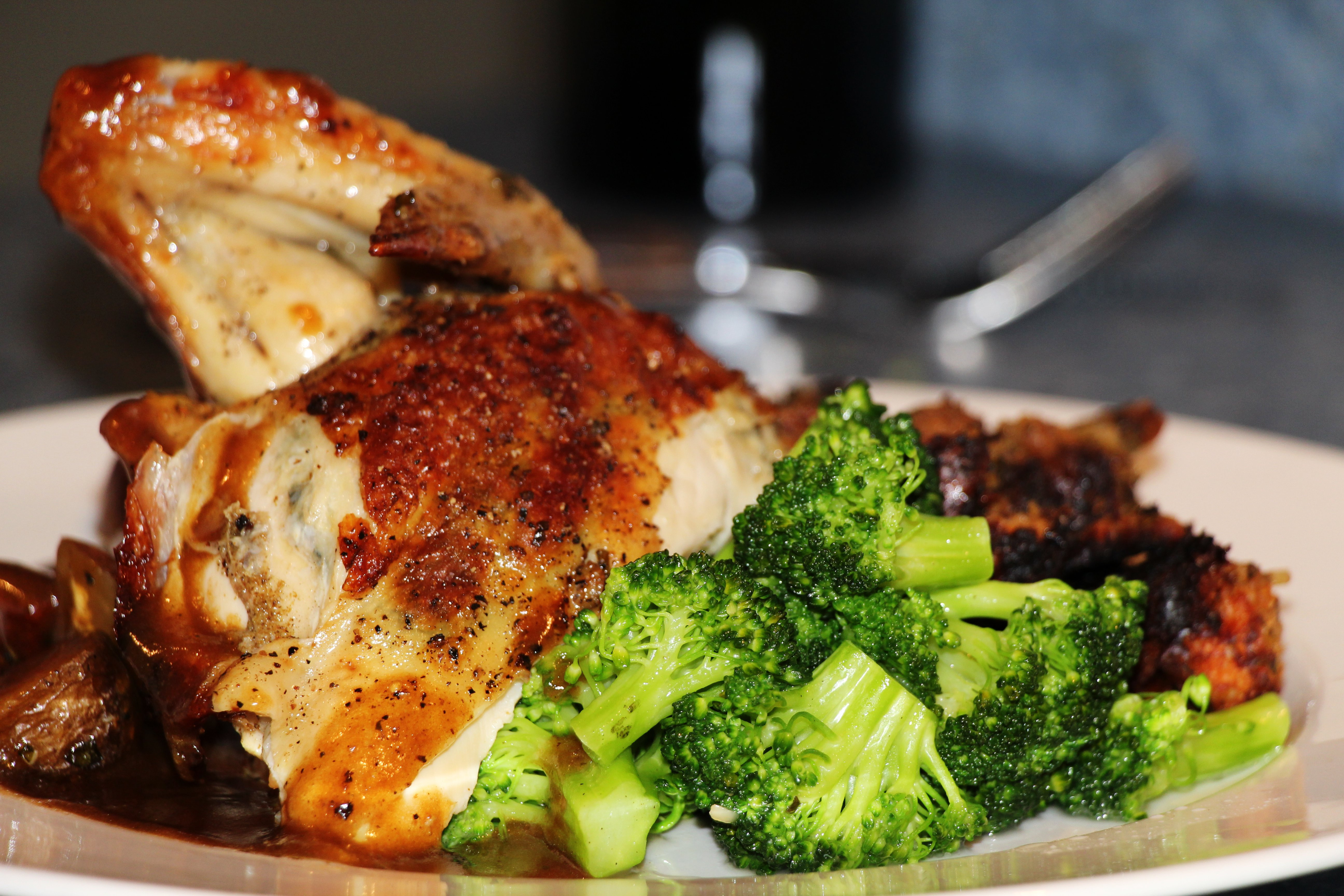 Roasted Chicken Dinners  File Roasted Chicken Dinner Plate Broccoli Demi Glace
