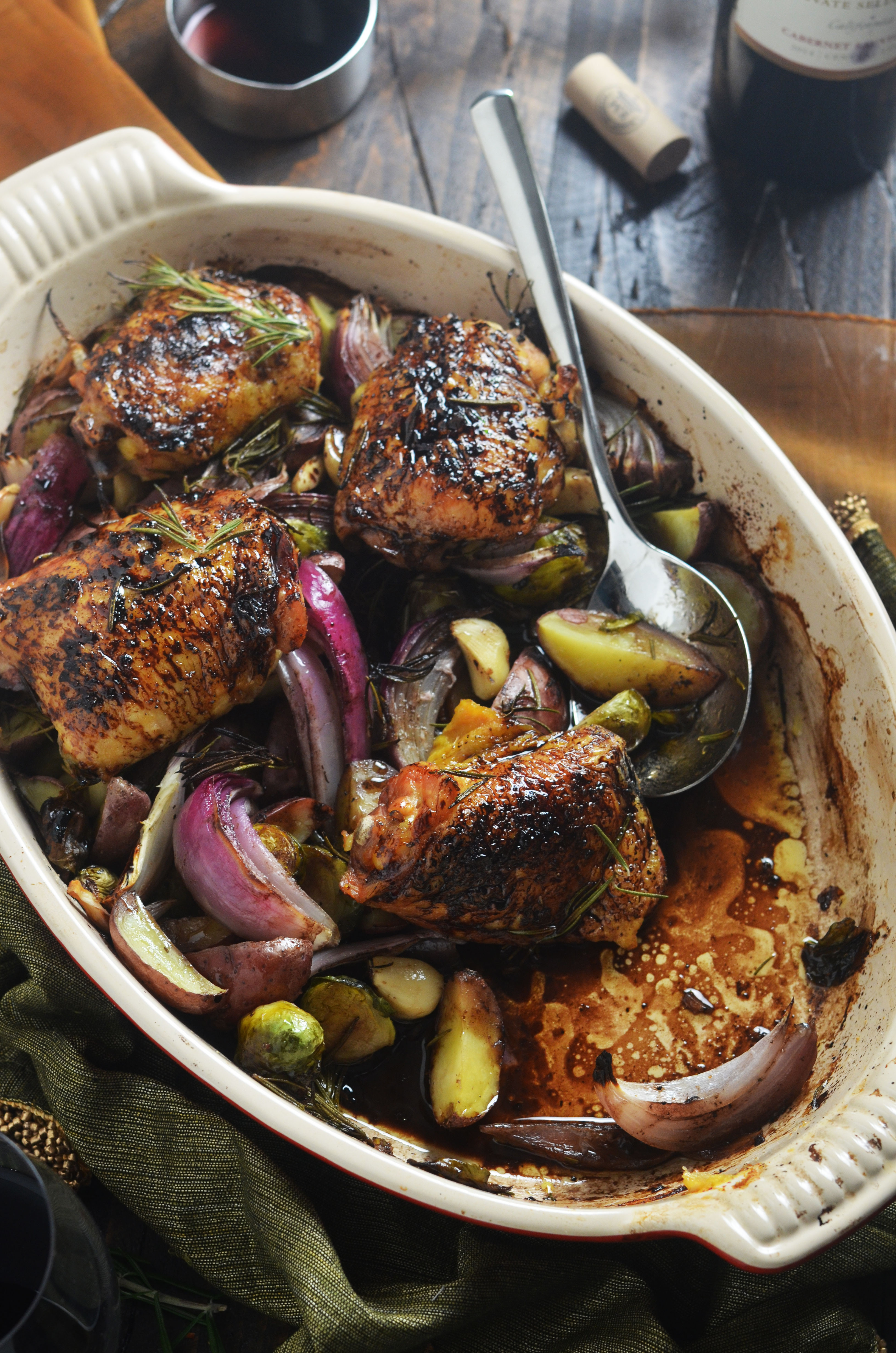 Roasted Chicken Thighs And Vegetables  Balsamic Red Wine Roasted Chicken Thighs and Ve ables